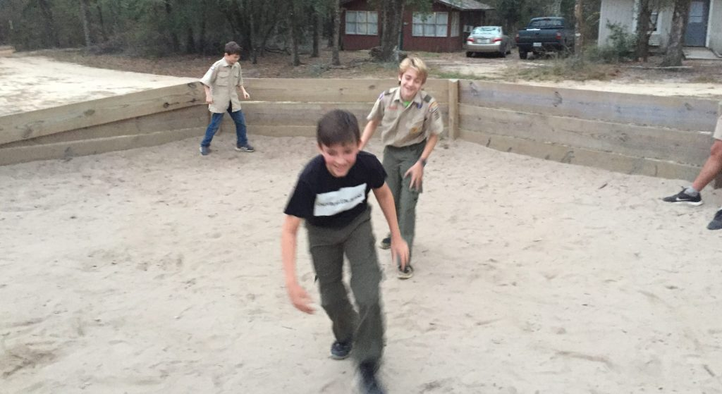 Scouts playing gaga ball