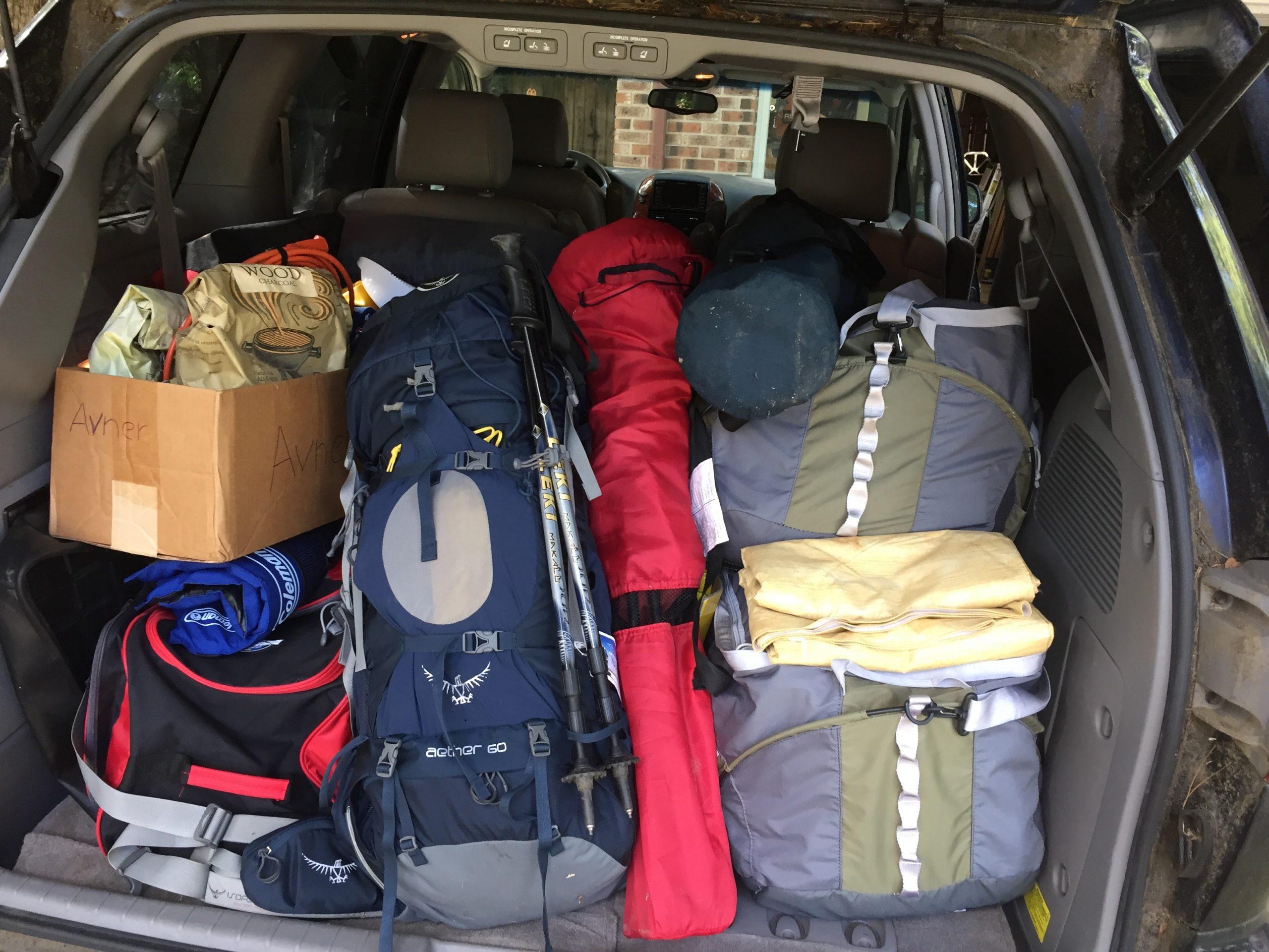 car full of camping gear