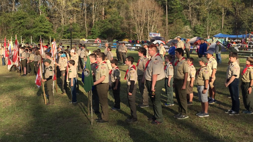 Scouts lined up for morning flag ceremony.